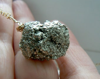Raw Pyrite gemstone pendant- Gold filled rough pyrite pendant- Wire wrapped boho pendant- Silver crystal pendant-Jewelry necklace-Women gift