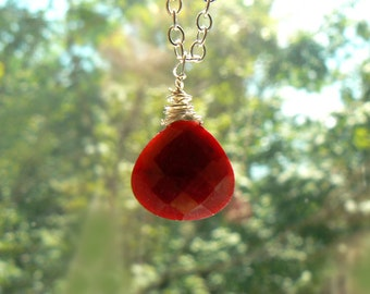Ruby gemstone pendant -Jewelry ruby necklace- Sterling silver stone wire wrapped pendant- Ruby drop silver- Boho pendant- Women gift