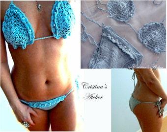 Blue knitted crochet mini ruffles bikini- Sexy embelished swimwear-Boho women pearls bikini- Knited swimsuit-Brazilian crochet bikini set