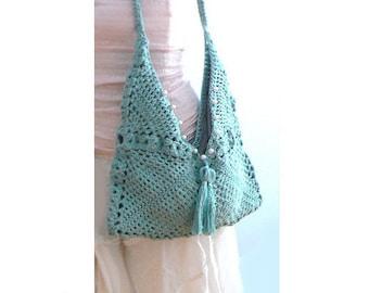 Crochet tassels envelope handbag. Blue boho crochet purse, crochet tote. Embellished blue crochet purse. Chic women crochet handbag