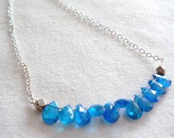Neon blue apatite necklace- Jewelry gemstone necklace-Blue apatite sterling silver necklace -Dainty necklace-Boho necklace- Jewelry gifts