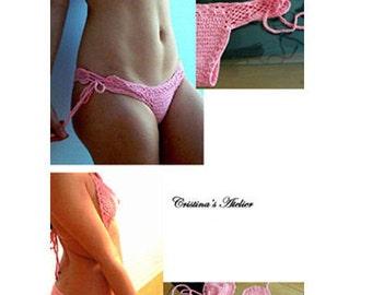 Crochet bikini set. Pink cheeky crochet bikini.Sexy women swimsuit. Crochet bathingsuit-Mesh pink bikini. crochet swimwear-Fashion bikini