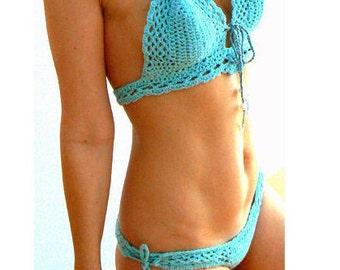 Blue mesh crochet bikini. Cheeky swimsuit set. Boho bikini set. Crochet mesh swimwear. Crochet bathing suit- Women beachwear bikini