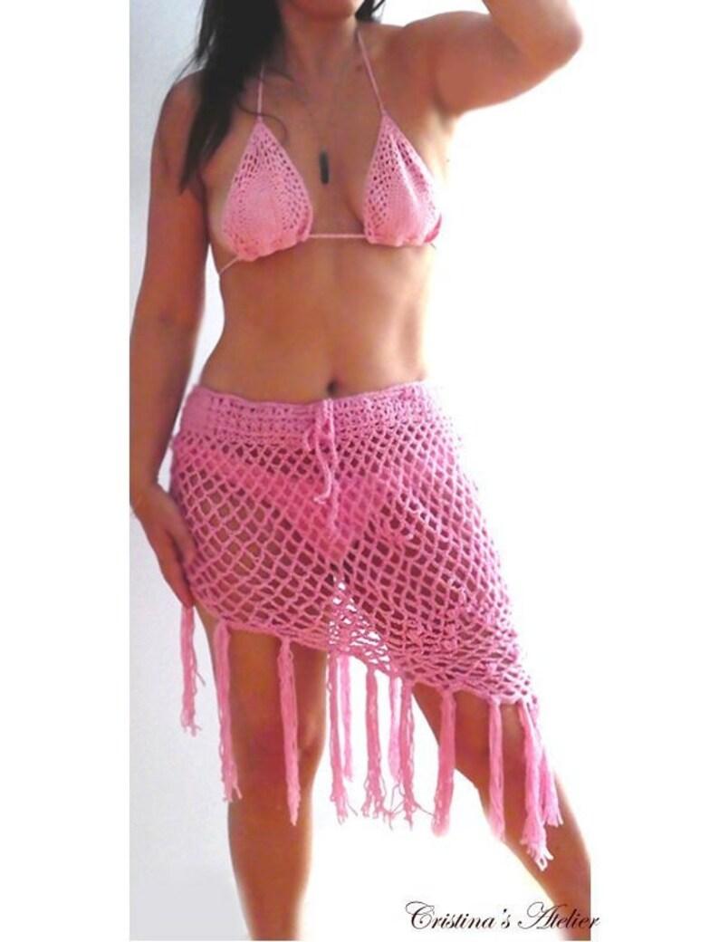 c419083ea3027 Sexy fringe coverup skirt pink fringe triangle crochet | Etsy