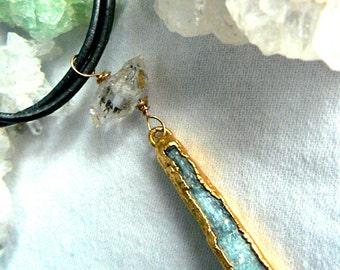 Blue kyanite Herkimer diamond choker -Leather kyanite gold necklace- Double terminated Herkimer gemstone choker- Gold plated kyanite -gift