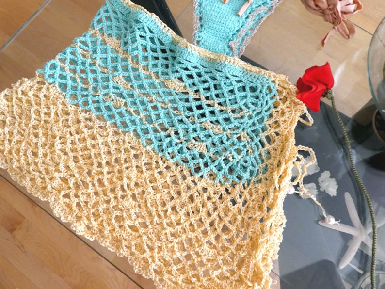 1973c41fb6eb7 Mermaid aqua crochet coverup skirt. Fishnet bikini skirt. Sexy | Etsy