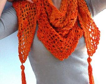 Tangerine crochet shawl- Triangle orange shawl, pima cotton fringe scarf- Crochet shawl- Crochet scarf- Boho crochet shawl- Bikini coverup