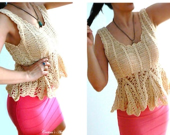 Beige crochet peplum top . Summer boho crochet tank . Festival crochet top. Women tank lace top. Cotton fashion tank . Vintage inspired tank