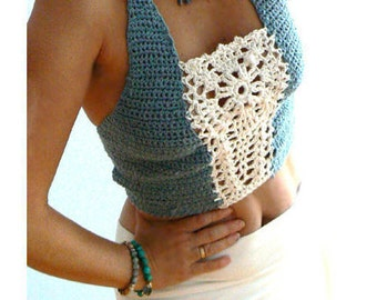 Flower crochet crop top. Grey blue white halter top. Boho crochet crop tank. Festival flower top. Women open back tank -Sexy halter top