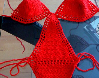 Red crochet monokini- Sexy crochet onepiece swimsuit-Women crochet red lingerie- Beach boho sexy handmade bikini. Fashion monokini swimwear