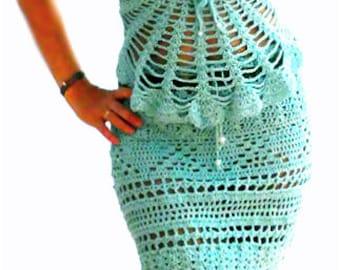 Blue aqua crochet top- Handmade crochet corset back top.Fashion,elegant, sexy crochet aqua top.Boho, lacy crochet top.