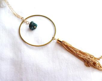 Raw Emerald circle tassel pendant- Rough Emerald boho gemstone gold filled pendant- Green raw stone fashion pendant- Women jewelry gift