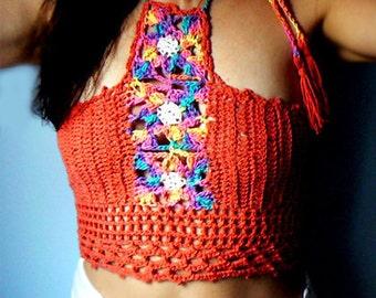 Crochet halter crop top -Women red flowers mosaic top -Summer boho sexy crochet tank -Festival crochet top -Fashion crochet women tank