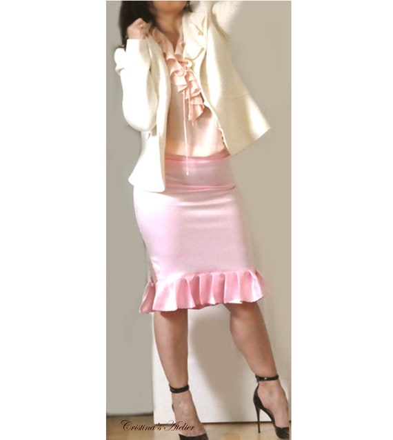 Pink Satin Ruffle Skirt Low Rise Pencil Skirt Women Fitted Etsy