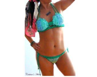 Emerald blue halter crochet bikini- Boho women swimsuit- Green blue multi crochet bikini -beachwear-Cheeky crochet bikini-Mermaid bikini set