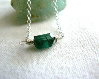 Green tourmaline crystal pendant-Jewelry gemstone sterling silver necklace- Minimalist necklace- Women pendant gift