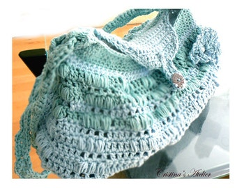 Crochet tab messenger handbag- Blue green summer cotton boho purse-Sporty large crochet bag -Resort crochet women bag- Casual crochet purse