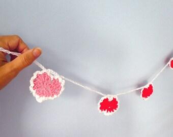Hearts crochet wall hanging- crochet romantic garland- Boho, party, wedding wall garland- Hearts girls room decor-Baby room decor