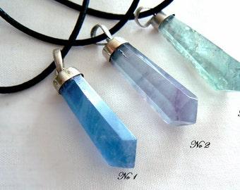 Blue fluorite crystal point pendant- Jewelry gemstone necklace- Stone sterling silver pendant- Boho green pendant- unisex pendant