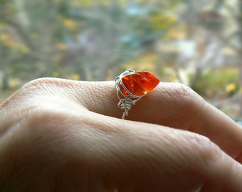 Raw Mexican fire opal gemstone sterling silver ring- Wire wrapped rough stone boho ring- Size 8.5- Fashion,trendy red opal ring-Women gift