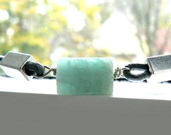 Aquamarine gemstone leather bracelet-Lapis, kyanite rough stone bracelet- Men bracelet gift- blue raw stone jewelry -Unisex bracelet gift