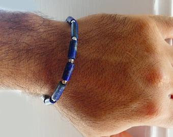 Lapis gemstone bracelet. Blue stone bracelet- Boho gemstone women bracelet- Unisex lapis bracelet gift- Lapis jewelry -Men jewelry gifts