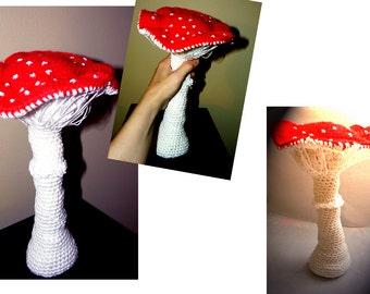 Mushroom crochet art display -Fungus crochet decor- Wonderland decor- Red large crochet mushroom- Mushroom fiber art sculpture- Baby decor