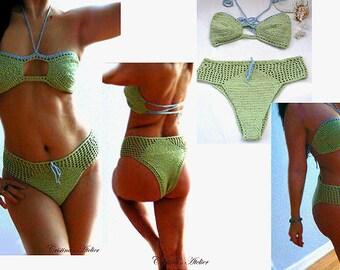 Crochet high rise bandeau bikini. Mint cheeky swimsuit. Boho sexy crochet bikini. High waist green swimsuit. Brazilian bikini -Women gift