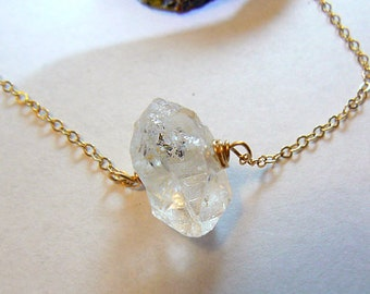 Herkimer diamond pendant -Gold filled necklace- Double terminated diamond quartz pendant-Jewelry gemstone necklace- Women gift