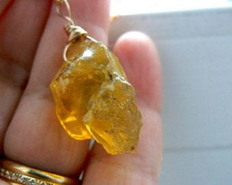 Raw Honey yellow opal pendant- Gold filled yellow opal pendant- Wire wrapped boho necklace- Rare opal chunky pendant- Jewelry women gift