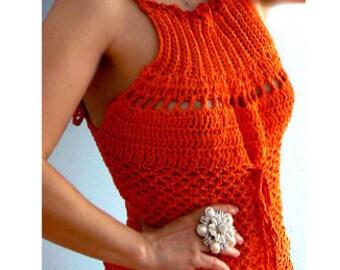 Crochet tank top .Handmade mesh crochet top. Corset back crochet top. Fitted crochet smocked top. Tangerine summer boho crochet tank.