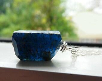 Indicolite blue kyanite pendant- Jewelry gemstone necklace- Blue kyanite men pendant-Sterling silver wire wrapped pendant-Unisex gift