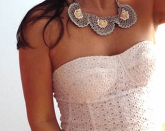 Flowers crochet necklace. Boho fiber art necklace- Silver grey yellow crochet necklace.Handmade bib crochet necklace. Cotton chic necklace.