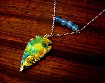 Mystic green arrowhead gold necklace-Boho labradorite gemstone pendant- Arrow rose gold necklace-Fashion trendy accessory-Women gift