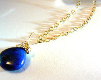 Lapis gemstone pendant -Jewelry lapis blue necklace- Gold filled stone wire wrapped pendant- Lapis drop gold-December birthstone- Women gift