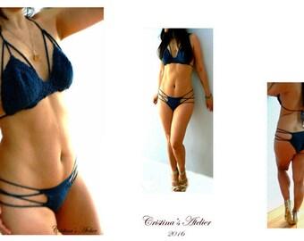 Strappy crochet bikini- Cage hot navy blue bikini- Sexy crochet cheeky swimsuit- Boho women beachwear- Fashion crochet swimwear- Women gift