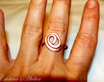 Copper swirl ring. Copper twisted ring. Handmade copper ring.Copper jewelry.Fashion copper swirl ring.Adjustable copper ring.Swirl thin band