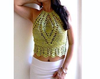 Green crochet top. Summer crop halter top. Boho crochet tank. Festival crochet top. Women sexy halter tank top. Elegant crochet tank