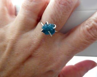 Raw blue tourmaline gemstone ring-Sterling silver blue stone ring-size 7-Rare Tourmaline thin band ring-Jewelry indicolite ring- Women gift