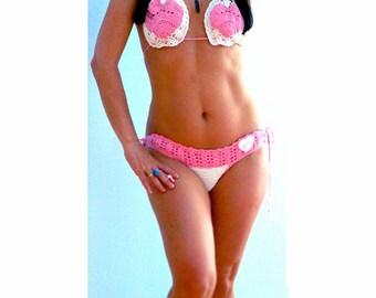 Crochet cheeky bikini-Pink hearts white swimsuit- White pink crochet bikini-Boho fashion swimwear-Sexy crochet bikini-Crochet bathing suit