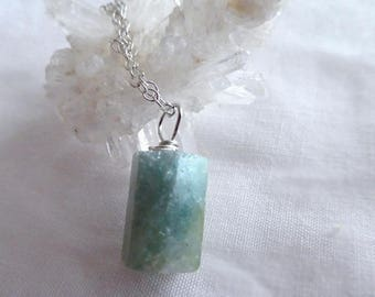 Raw Aquamarine gemstone pendant- Jewelry sterling silver necklace-blue green stone wire wrapped pendant-Crystal gemstone pendant- women gift