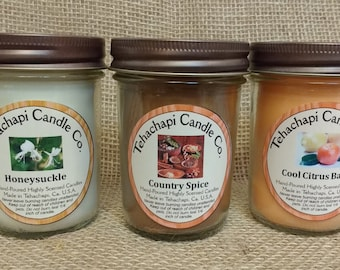 Pick Three: 8oz container candles, Soy Candles, scented soy candles, rustic candles, mason jar candles, scented candles, country candles