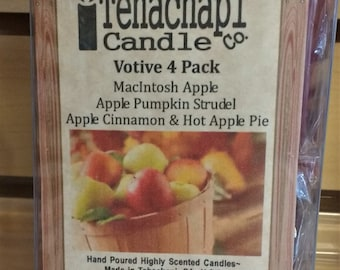 Scented Votive Candle 4 Pack: All Apples - Gift Set - MacIntosh Apple, Apple Cinnamon, Apple Pumpkin Strudel, Hot Apple Pie