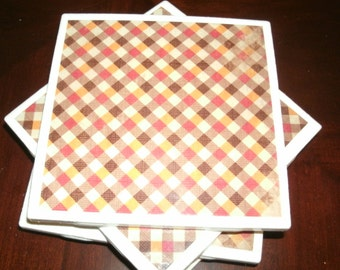 Fall Checkered Pattern, Seasonal Coasters, Autumn Decor, Seasonal Home Decor, Ceramic Tile Coasters, Holiday Table Coasters, 4 pc set.