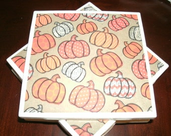 Fall Harvest Pumpkins, Seasonal Coasters, Autumn Decor, Seasonal Home Decor, Ceramic Tile Coasters, Holiday Table Coasters, 4 pc set.
