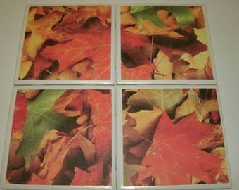 Fall Leaves Coasters, Seasonal Coasters, Autumn leaves, Seasonal Home Decor, Ceramic Tile Coasters, Holiday Table Coasters, 4 pc set.