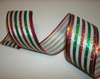 5 yds of Colorful Striped Holiday Ribbon, Seasonal Ribbon, Wired Edge Ribbon