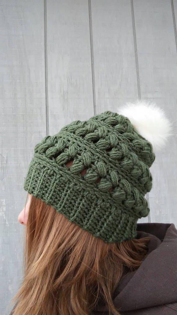3be25dac155a7a Olive Fur Pom Pom Beanie Olive Green Hat Fur Pom Hat Fur | Etsy