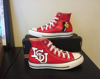 0779a7b42f77d8 Personalized Hand Painted Illinois State Inspired Converse