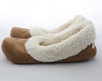5fcbc68ed678 Women s Sherpa Slippers - Women s Slippers with Soles - Soft Sole Shoes  Women - Chestnut